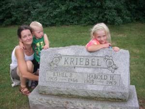 Me, Silas and Luthien at my great-grandparents' gravestone, Towamencin Schwenkfelder Cemetery