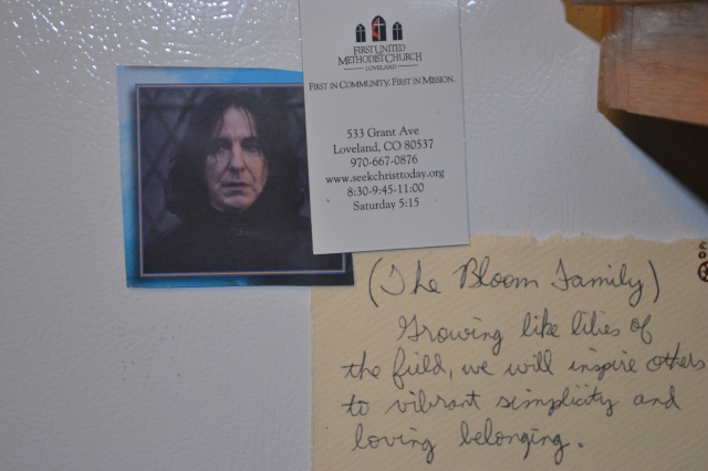 My literary hero and our family mission statement, inspiring me from the side of my refrigerator.